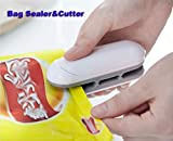 Amouy Bag Sealer 2 in 1 Heat Sealer and Cutter Use New Alkaline batteries Mini Handheld Sealer Heat Bag Sealer Mini Hand Pressure Heat Sealing Machine Mini Food Sealer Easy Use Bag Sealer With Hook