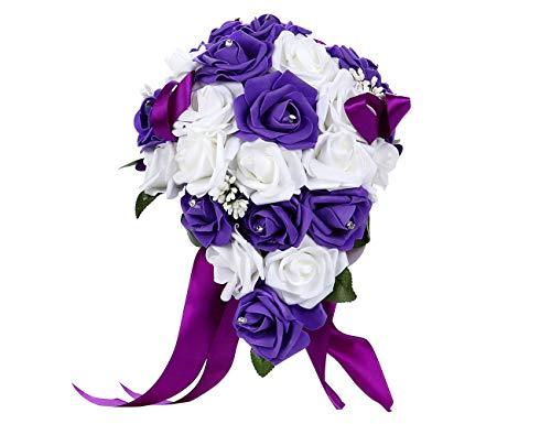 Bodarind Rose Waterfalls Design Künstliche Blumen Rose Strass Brautstrauß Hochzeit violett
