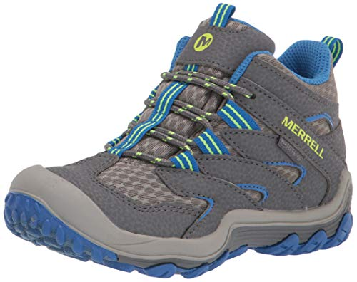 Merrell Chameleon 7 Access Mid Waterproof Hiking Boot, Grey/Blue, 4 US Unisex Big Kid
