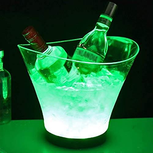 ZF Cubos de Hielo y Enfriador de 6 litros LED Cubo de Hielo de Gran Capacidad del refrigerador de Vino llevada Impermeable Retro Retro Champagne Champagne Compartimiento de la Cerveza, Power,Green