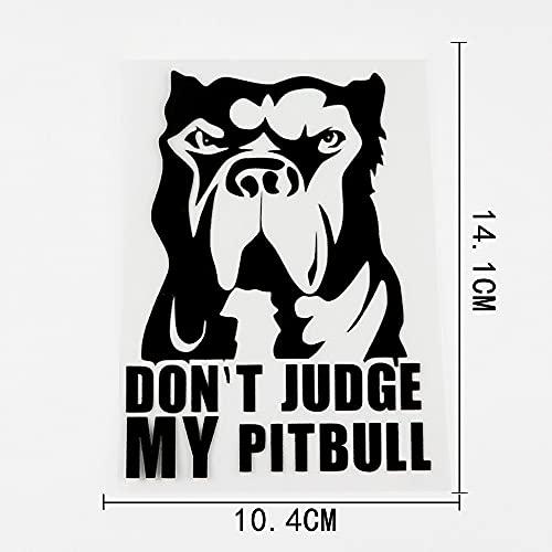 WZJH 10. 4CMX14.1CM La calcomanía Animal no juzga mi Pegatina de Vinilo de Pitbull Negro/Plata (Color Name : Black)
