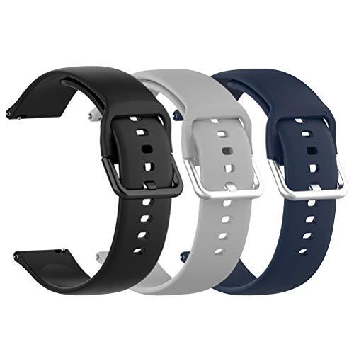 Idealeben 3pcs Cinturino di Ricambio in Silicone 20 mm, Compatibile con Galaxy Watch Active, Cinturino Sostitutivo Smartwatch, Bracciale Sportivo Traspirante, Grigio, Nero, Blu (6,7-8,1 Pollici)