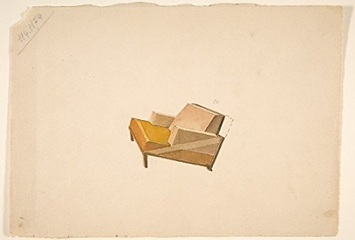 Guglielmo Ulrich – Perspective of a Lounge Chair with 2-Color Upholstery for Agnelli Kunstdruck (45,72 x 60,96 cm)