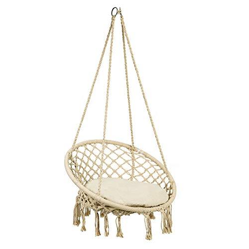 SOULONG - Sedia sospesa con Cuscino Rotondo per Seduta, Beige - Dondolo sospeso, è Tessuto con Corda di Cotone, Poltrona sospesa da Appendere, Portata Max. 150 kg