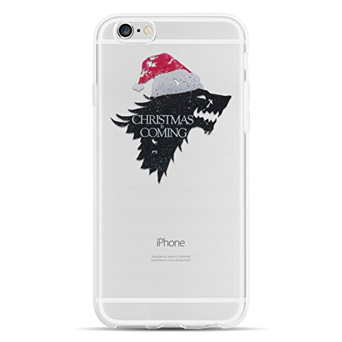 JammyLizarD Xmas Hülle für Apple iPhone 6/6s | Transparente Schutzhülle Gel Weihnachts-Sketch Back Cover Hülle aus Silikon, Christmas is Coming