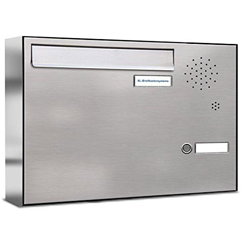 AL Briefkastensysteme 1er Briefkasten für Tür/Zaundurchwurf mit Klingel, 1 Fach DIN A4, wetterfeste Premium Briefkastenanlage aus V2A Edelstahl