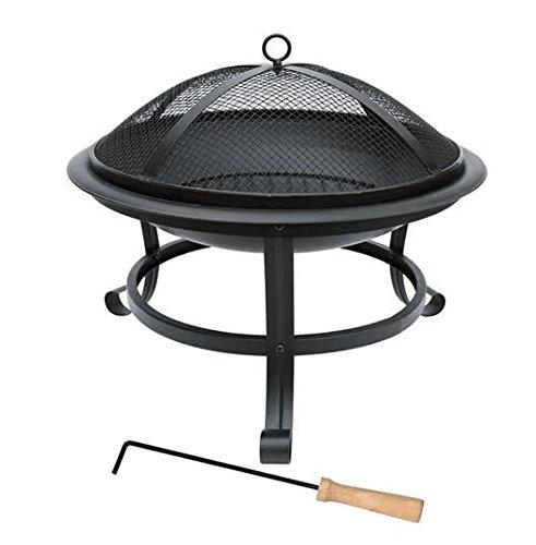 Grafner Feuerschale mit Funkenschutz, Kohlerost und Schürhaken, Ø 50 cm, hitzebeständige Beschichtung, stabile Füße, wohlige Wärme & gesellige...
