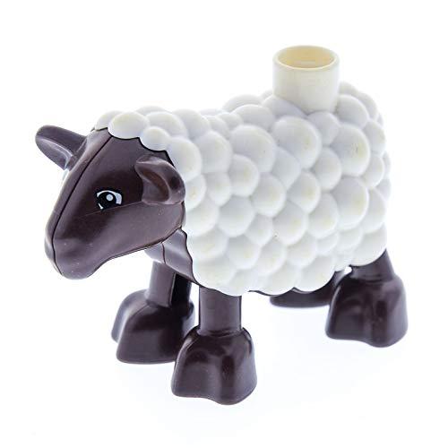 1 x Lego Duplo Tier Schaf braun weiss Lamm Hammel Ville Bauernhof Zoo Wolle 5646 10522 10617 duplamb01
