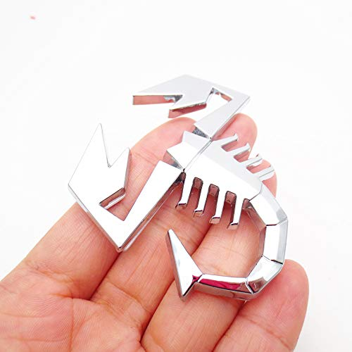 Macxy - 3D-Metall-Schwarz-Silber-Scorpion-Form-Emblem-Abzeichen-Aufkleber für FIAT Abarth VW Renault Autotür Fender Trunk hinten Dekor [Silber]