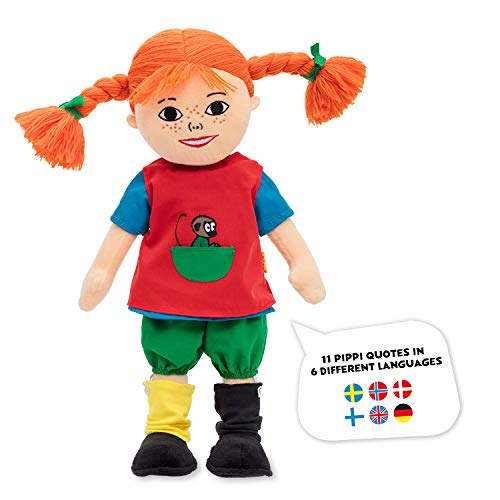 Micki & Friends 44380200 - sprechende Pippi Langstrumpf Puppe 40 cm - Jubiläumspuppe - Pippi 75 Jahre - Mehrsprachig - Deutsch - Englisch - weitere Sprachen - inkl. Batterien