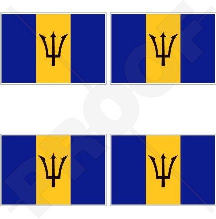 Barbados Barbados-Flagge kleinen Antillen 5,1cm (50mm) Vinyl bumper-helmet Sticker, Aufkleber X4