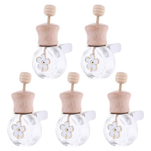 Baoblaze Set de 5 pièces Mini Pendentif Bouteilles de Parfums en Verre Diffuseur de Parfum Voiture Flacon de Parfum Rechargeable Rafraîchissement d' Air - 8ml Oblat