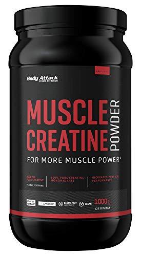 Body Attack Muscle Creatine (Creapure), Kreatin-Monohydrat, vegan (1 x 1kg Pulver)