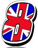 Biomar Labs Número 8 Bandera Nacional de Gran Bretaña Reino Unido UK Calavera Vinilo Adhesivo Pegatina Coche Auto Motocross Moto Sport Start Racing Tuning N 298