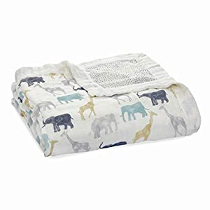 aden + anais Silky Soft Dream Blanket, 100% Cotton Bamboo Muslin, 4 Layer Lightweight and Breathable, 47 X 47 inch