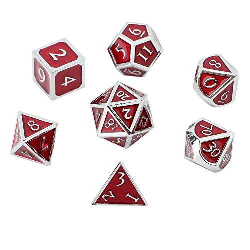 Tbest Standard Game Dice, Metall Multi Side Polyhedral Chrom Transparent Red Brettspiel Würfel