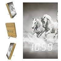 寝室用デジタル目覚まし時計キッチンオフィス3アラーム設定ラジオ木製卓上時計-水を流れる動物の白い馬