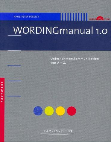 WORDINGmanual, Netzwerk-Version, 1 CD-ROMUnternehmenskommunikation von A-Z