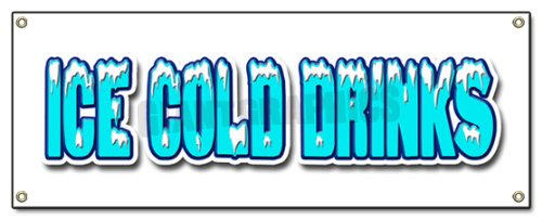 72' ICE Cold Drinks Banner Sign Drink cart Stand Beer Signs