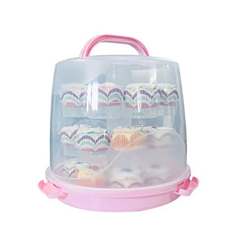 24 Cupcake Carrier Cake Carrier Holder Portable 3 Tier Cupcake Transporter Box Muffin Container with Locking Lid and Handle for Pie Cookies (Pink)