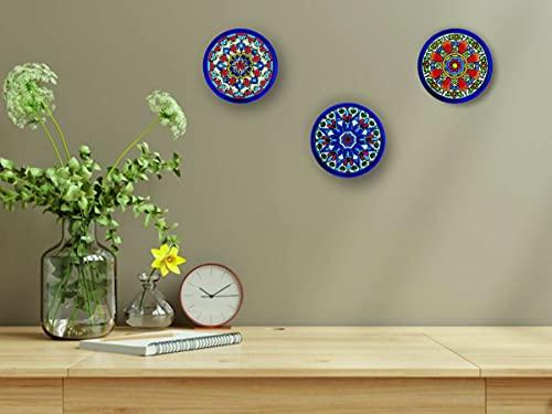 Platos decorativos para pared, pintados a mano con la técnica de la cuerda seca 9. Platos.Cerámica Andaluza. Grabado y Cerámica Española. (Pack de 3 Platos)