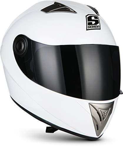 "SOXON® ST-550 ""Snow"" · Integral-Helm · Full-Face Motorrad-Helm Roller-Helm Scooter-Helm Cruiser Sturz-Helm StreetFighter-Helm Sport Urban MTB · ECE 22.05 Visier Schnellverschluss Tasche XS (53-54cm)"