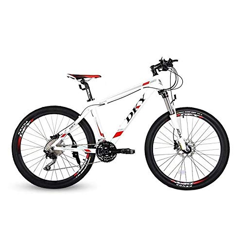 26' Aluminium Mountain Bike Shimano 30 Speed SR SUNTOUR Suspension Fork Shimano Hydraulic Disc Brake (White red, 17')