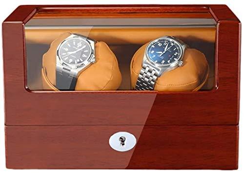 Caja enrolladora de reloj para relojes automáticos Pintura de piano de madera Exterior Cuero de PU suave Adaptador de almohadas para reloj y enrollador de reloj a batería Cajas Giratorias para Reloje