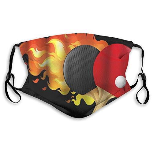 Unisex-Maske Tischtennis Sportliebhaber Thema Unisex Wiederverwendbar Winddicht Anti-Staub Mund Bandanas Outdoor Camping Motorrad Running Neck Gamasche Mit 2 Filtern Für Teen Männer Frauen