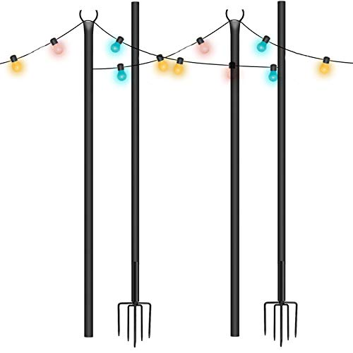 MOPHOTO String Light Poles 9.2FT for Outdoor with 5 Prong Fork Design, 2 Pack Outdoor String Light Pole Stand for Garden Patio Wedding Cafe Christmas Party