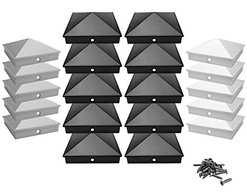 Pfostenkappen 9x9 cm aus hochwertigem Aluminiumguss | 5er / 10er Pack pulverbeschichtet in 3 Farben | Rostfrei | mit Edelstahl-Schrauben | Pyramide | Abdeckkappe/Zierkappe | (10, Schwarz)