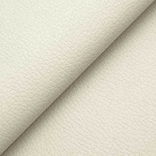 DESHOME Chiara - Tessuto al Metro Similpelle Idrorepellente anti-screpolatura Stoffa in Ecopelle h 140 cm per rivestimento divani, cuscini, tappezzeria (Bianco latte, 1 metro)