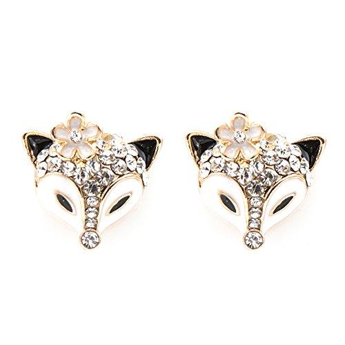Sisfrog Crystal Rhinestone Miss Fox Animal Stud Earrings Jewelry for Women and Girls