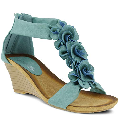 PATRIZIA Women's Harlequin Wedge Sandals (Turquoise, 40 M EU)