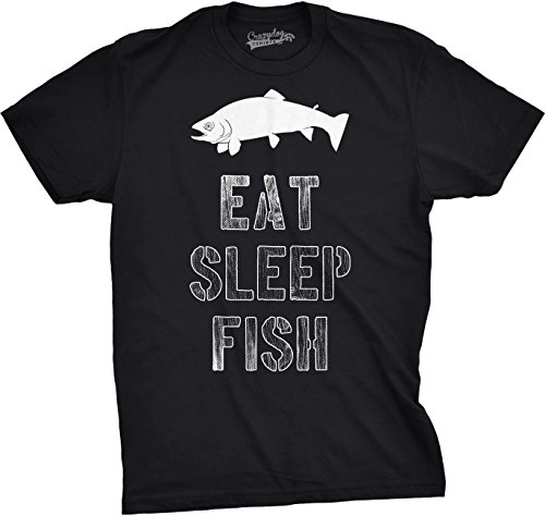 Mens Eat Sleep Fish T Shirt Funny Sarcastic Novelty Fishing Lover Gift for Dad (Black) - L