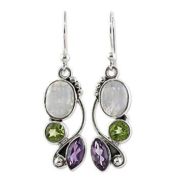 NOVICA Peridot Amethyst Rainbow Moonstone .925 Sterling Silver Dangle Earrings Natural Glamour
