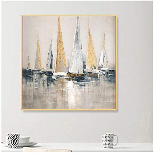 Estilo nórdico lienzo pintura arte clásico abstracto dorado velero pintura al óleo cuadros de pared para sala de estar decoración del hogar / 60x60cm-sin marco