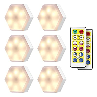 KINGSO Wireless LED Puck Lights with Remote Control 6 Pack, LED Closet Lights Battery Operated, Dimmable Stick On Lights Under Cabinet Lighting (4000K White)
