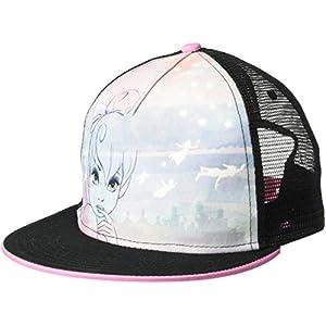 Disney Tinker Bell Flat Brim Adjustable Snapback Trucker Hat, Black/White, One Size