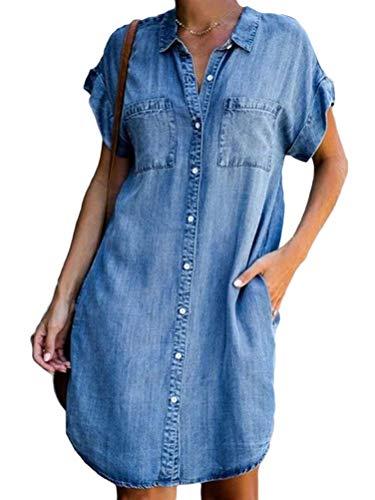 Minetom Sommerkleid Jeans Kleider Damen V-Ausschnitt Strandkleider Einfarbig A-Linie Kleid Boho Knielang Kleid Ohne Zubehör Denimkleid Blau 42