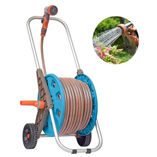 Slanghaspel Kar met slang, Water Pipe Auto Roll met 9 Functie Pijp van de nevel, Portable Vrijstaand Slanghaspel Houder met slang voor tuin, auto, huis schoonmaken,50m