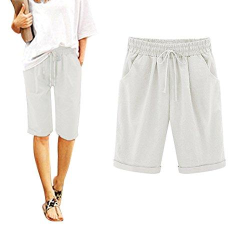 Minetom Donna Pantaloncini Bermuda Estivi Moda Puro Colore Casual Comode Sciolto Taglie Forti Shorts Basic Plus Size B Bianco EU Small