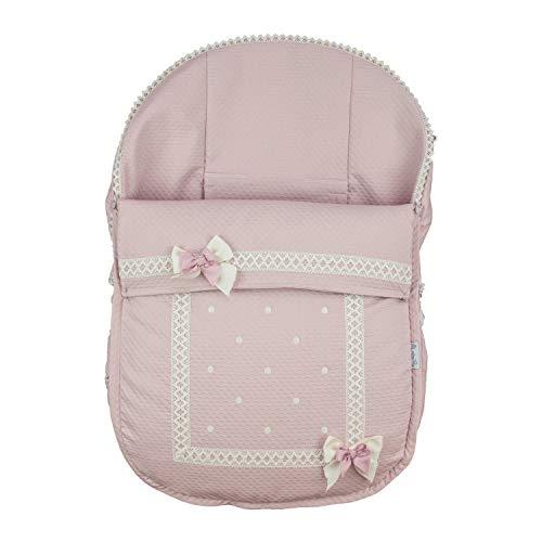 Funda + Saco Universal para silla de coche GRUPO 0 Rosy Fuentes en color rosa empolvado
