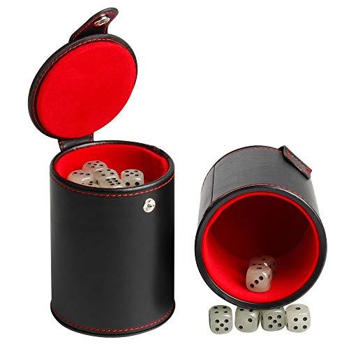 Leder Würfel Becher Shaker mit Deckel, hellgrün 6 Würfel Set Würfelbecher für die Meisten Würfelspiele (2 Packung)