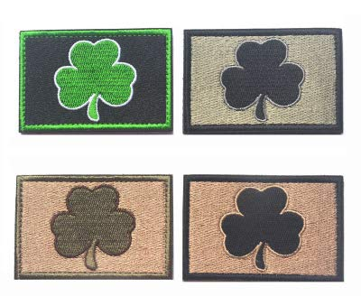 Antrix 4 Pieces Irish Shamrock Military Badge Emblem Patch Hook & Loop Tactical Shamrock Lucky Clover Badge Emblem Patch - 3.15'x2'