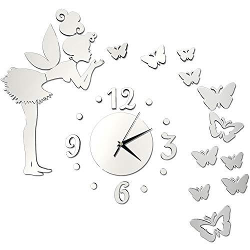 Orologio da Parete Fai-da-te, FANDE Orologio da Parete con Stella a Farfalla con Angelo a Specchio 3D, Orologio da Parete con Decorazione Moderna Creativa, Orologio da Parete per Ufficio (Argento)