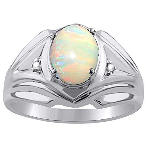 Diamond & Opal pendientes de anillo de plata o chapado en oro amarillo