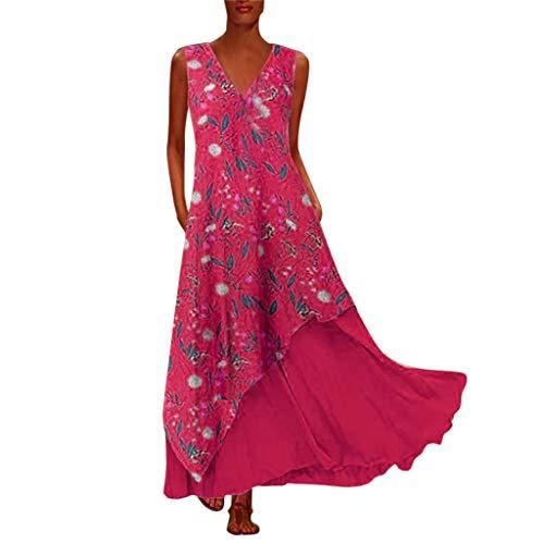UFODB Sommerkleid Damen Elegant V-Ausschnitt A-Linie Boho Blumendruck Asymmetrisches Langes Kleid Abendkleider Cocktailkleid Partykleid Maxikleider Brautkleid Abschlusskleid Ballkleid