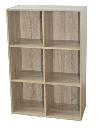 Alsapan - Scaffale cubico 3 x 2, in melamina, 91 x 61,5 x 29,5 cm, Finiture in Rovere