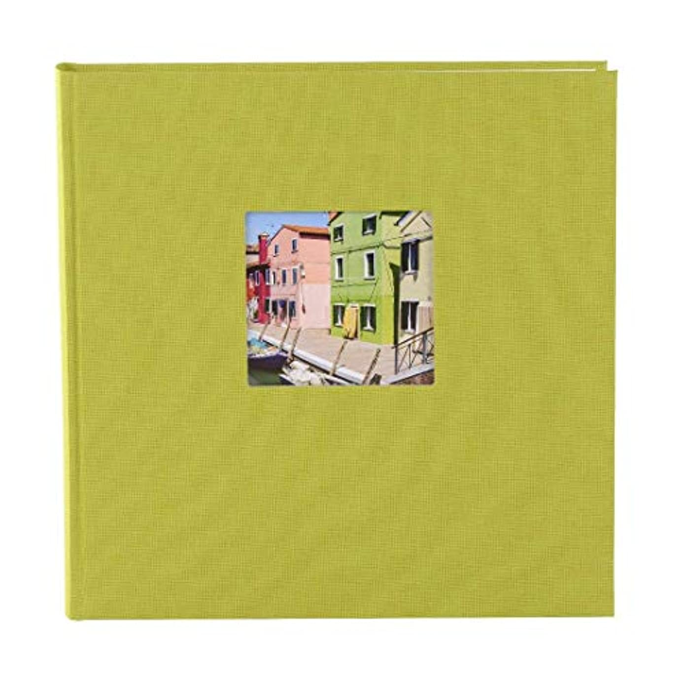 Goldbuch Photo Album with Cut-Out, Bella Vista, 25 x 25 cm, 60 White Pages with glassine dividers, Linen, Green, 24896